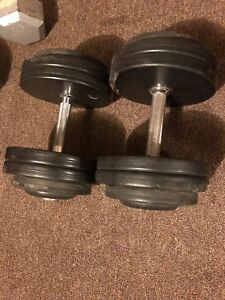 Two 55 pound dumbbells