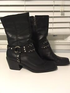Women's leather motorcycle boots - Size 9 - $100 OBO