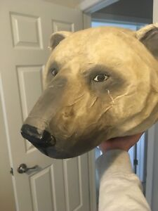papier-mâché polar bear head