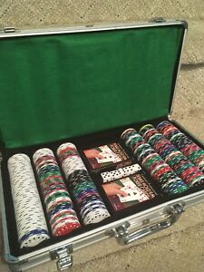 Poker chips set and small table topper