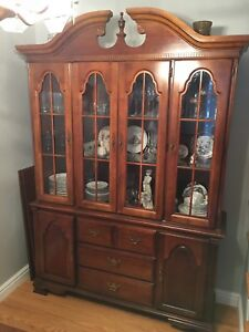 Solid Wood 2 Piece Cabinet and Hutch