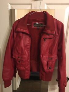 Juniors/women's red leather jacket