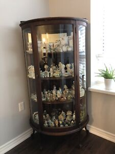 Solid wood curved curio cabinet