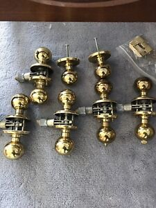 5 interior brass door handles + 2 closet handles