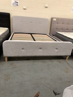 Brand new flat pack fabric bed with super strong slats D$270Q$290