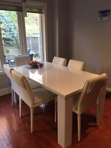 Italian dining table and chairs.