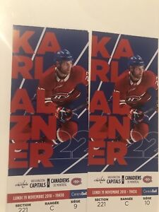 Billets Canadiens vs Capitals 19 nov zone Desjardins