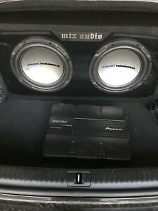 ^** TWO MTX JACKHAMMER SUBS IN MATCHING BOX WITH PIONEER AMP