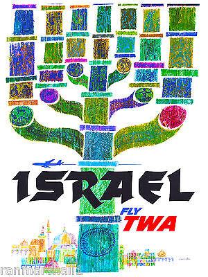 Israel Menorrah Jewish Hebrew The Bible Vintage Travel Advertisement Art Poster