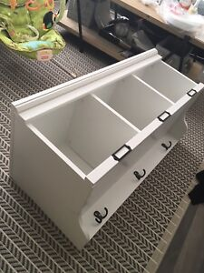 Cubby shelf with hooks