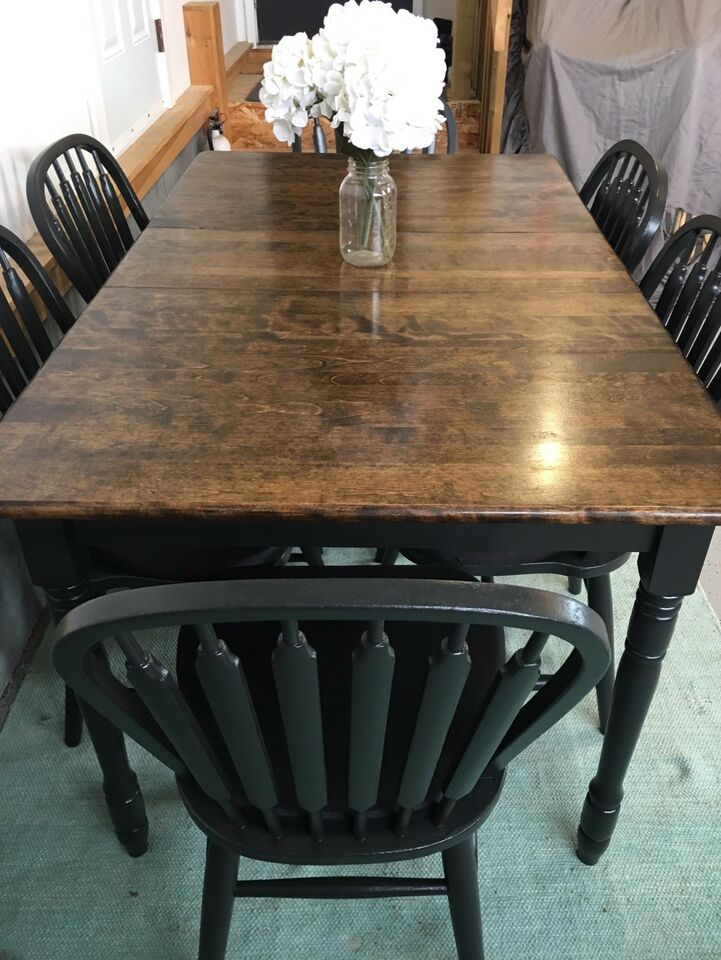 Beautiful Solid Wood Harvest Dining Room Table Set U0026 6 Chairs ...