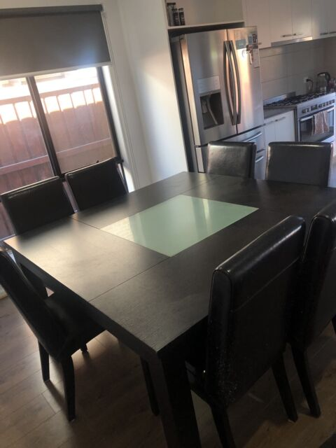 Black Square Dining Table With Gl Centre Chairs Not
