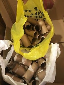 Two bags of empty toilet paper rolls.