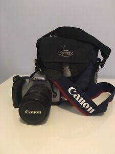 Canon Film camera, lens and bag.