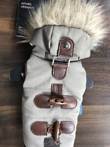 Small dog coat with faux fur hoodie