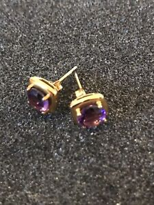 9CT GOLD AFRICAN AMETHYST EARRINGS NEW NEVER WORN COMES WITH BOX