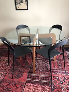 Glass Top Table with Wood Base and 4 Chairs