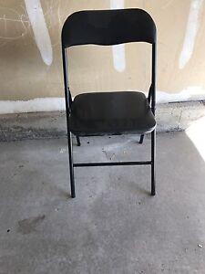 4 x Black Steel Fold Up Chair w/ Padded Seat