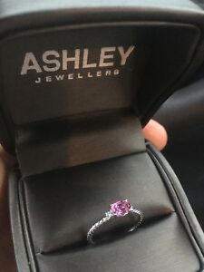 White Gold Pink Topaz With diamonds