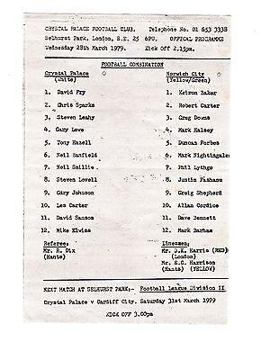 Crystal Palace v Norwich City Reserves Programme 28.3.1979