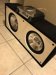 """^** 2 10"""" MTX SUBS IN BASSWORX BOX WITH MTX AMP"""