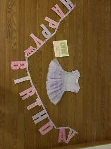 Baby girl 1 year birthday outfit and cake topper