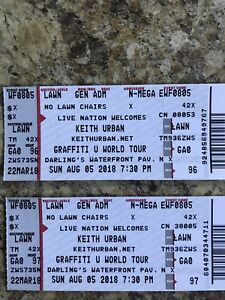 2 Tickets to Keith Urban Bangor Darlings Waterfront Aug 5/2018