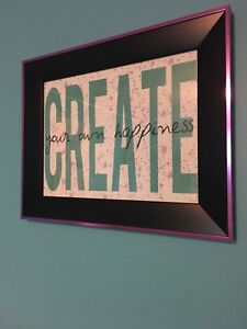 """Create your own happiness"" wall decor"