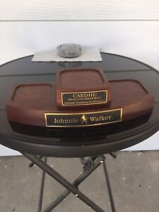 Johnny Walker Wood Liquor Bottle Stand with Plaque