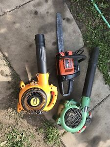 2 Leaf Blowers and 1 Chainsaw for parts or repair.