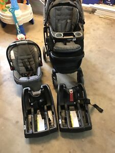 Grace snugride 35 stroller, car seat and 2 bases