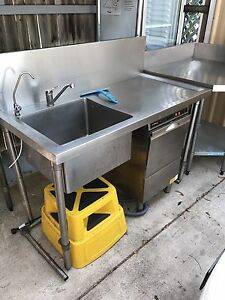 Stainless Steel bench with sink Mount Coolum Maroochydore Area Preview