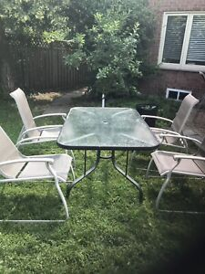 Aluminum patio table with chairs