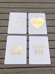 SET OF 4 GOLD FOIL PRINTS 8x10
