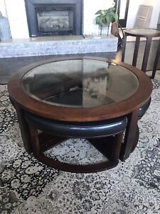Coffee table set with stools