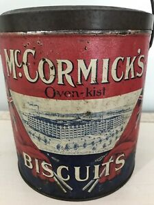 Rare Great Cond McCormicks Biscuit Lunch Pale Can Tin London Ont