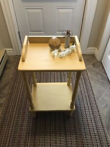 Refinished Solid Wood 2-Shelf Square Occasional Table