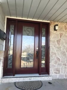 Front door, two side panels, wrought iron