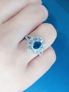 Mix Diamonds and Sapphire Ring