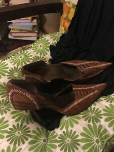 Brown leather heels size 8