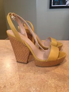 Yellow high heel wedge sandal