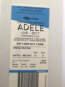 ADELE -  Brisbane Ticket - 4th March - Good Seat! Tallebudgera Gold Coast South Preview