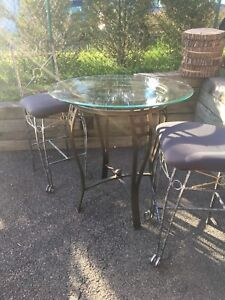 High top glass table and chairs