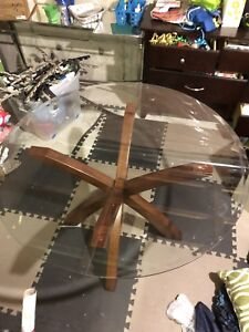 48-inch round glass table, with oak wood legs