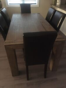 Dining Table & 6 Leather Chairs for Sale!