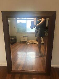 Large timber framed mirror