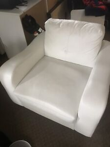 White leather chair and matching love seat