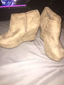 Wedge booties never worn