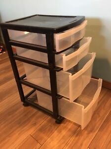4-drawer plastic storage cart