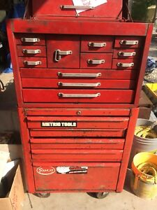 Two piece large stacking tool box.